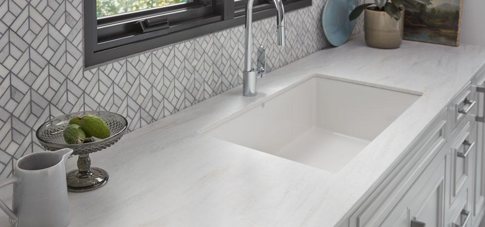 Solid Surface | Beige Travertine Contemporary Kitchen