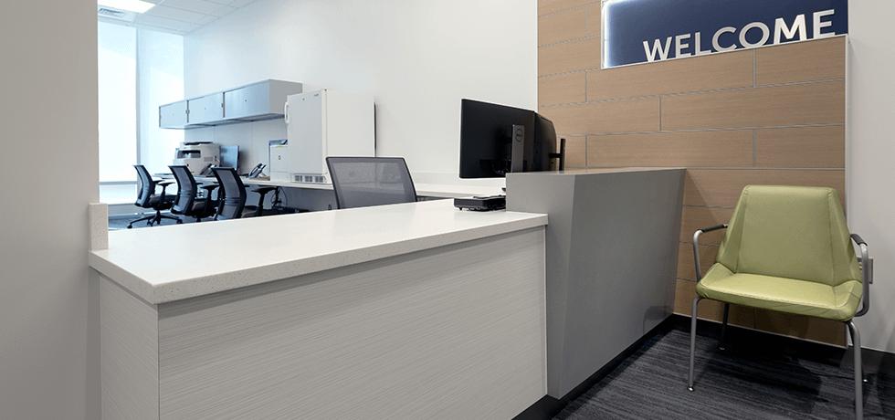 Reception Desk | High Pressure Laminate in Vapor Strandz