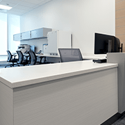 Reception Desk | High Pressure Laminate in Vapor Strandz